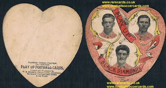 1890 Sharpe heart Ply Up Black Diamonds rugby club 3 players inset